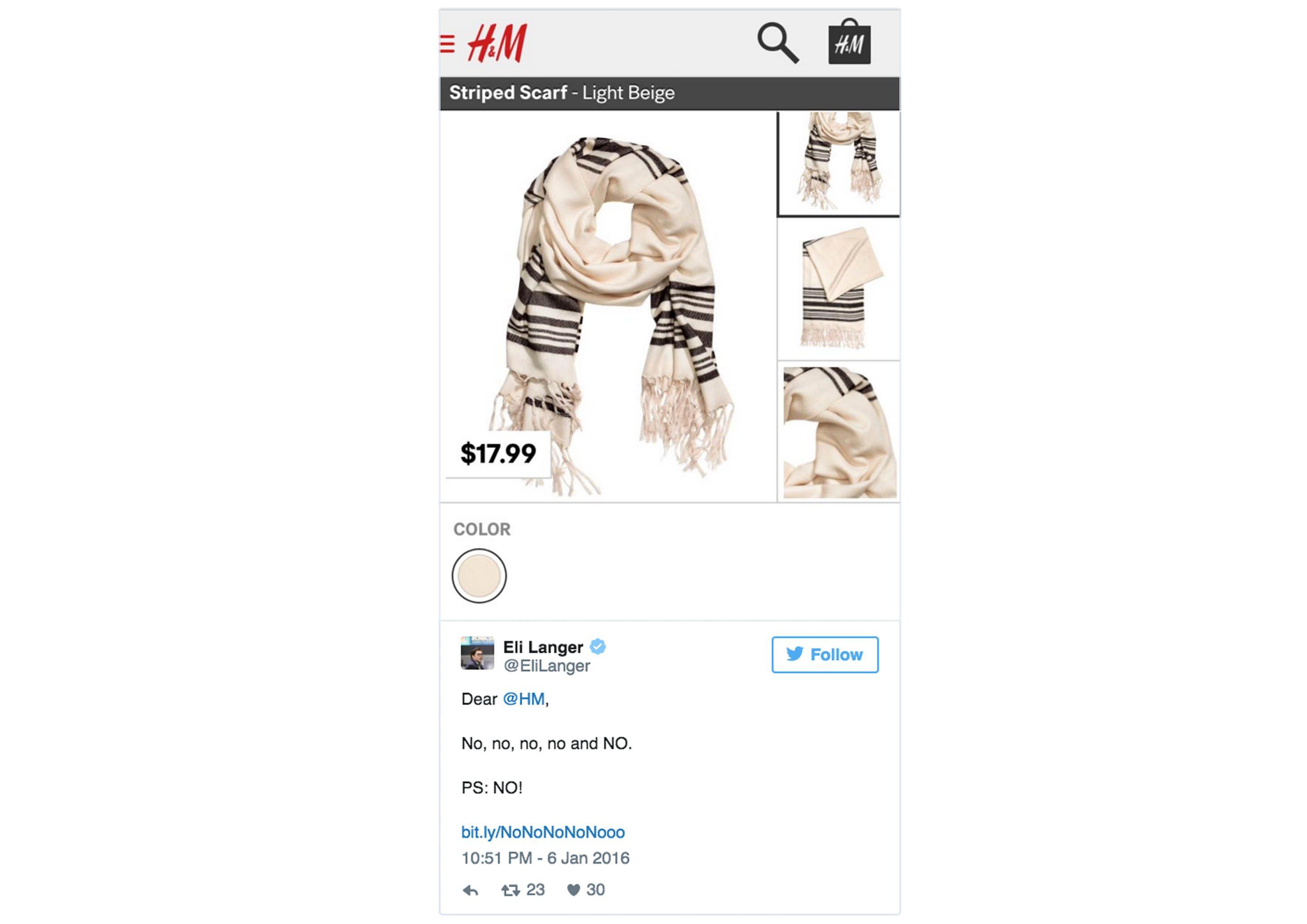 Kontroversial, Syal Keluaran Terbaru Ini Membuat H&M Meminta Maaf Kepada Warga Israel