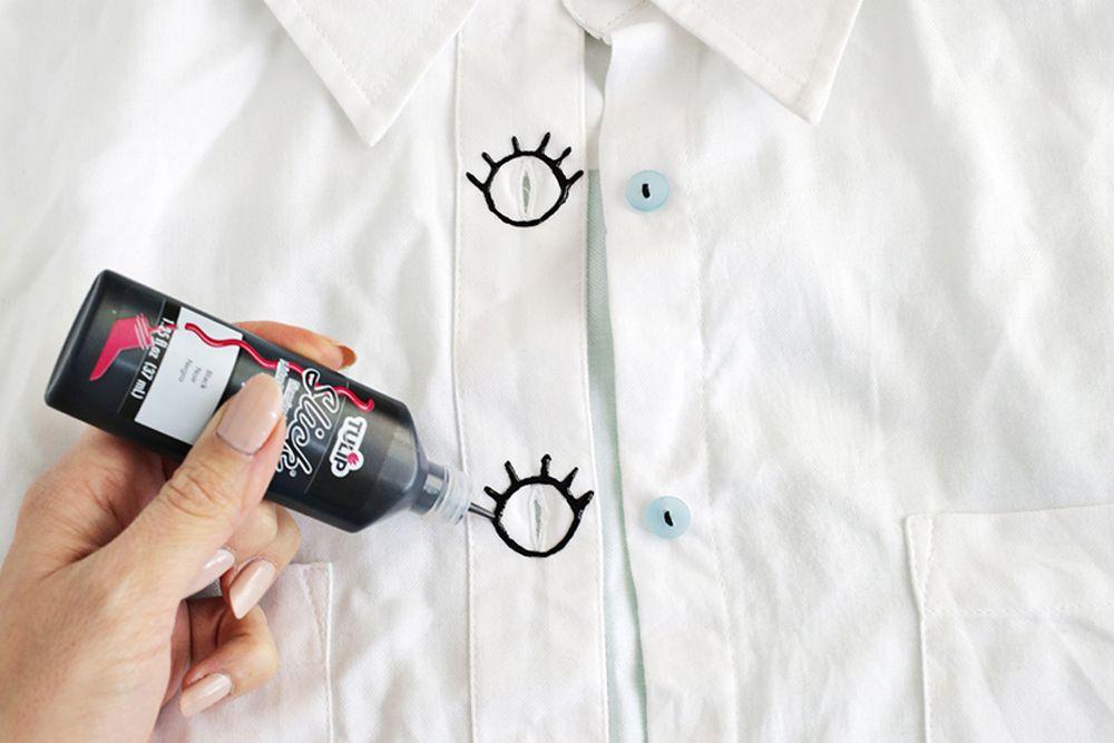 Sulap Kemeja Putih Lamamu dengan DIY Kancing Mata Unik Andalan Popbela
