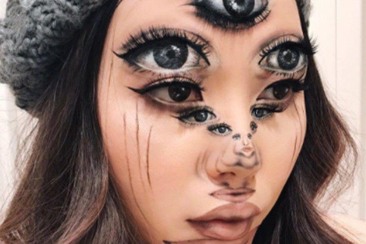Perempuan ini Mengubah Wajahnya Menjadi Sebuah Ilusi Optis yang Keren Banget!