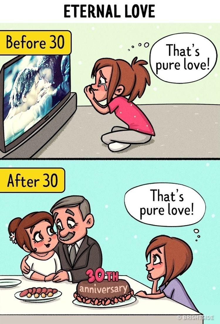 10 Ilustrasi Ini Tunjukkan Perbedaan Cinta Sebelum dan Sesudah Usia 30