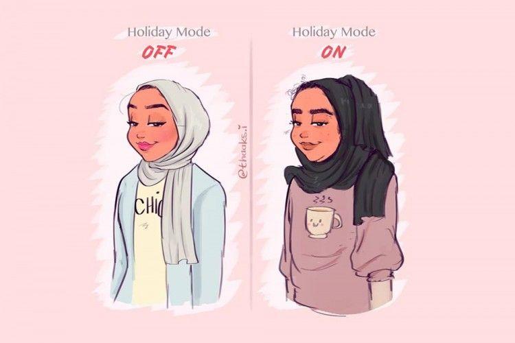 9 Ilustrasi Perempuan Muslim yang Lucu dan Menginspirasi