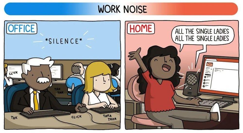 Deretan Ilustrasi Ini Gambarkan Perbedaan Kerja Kantoran dan di Rumah