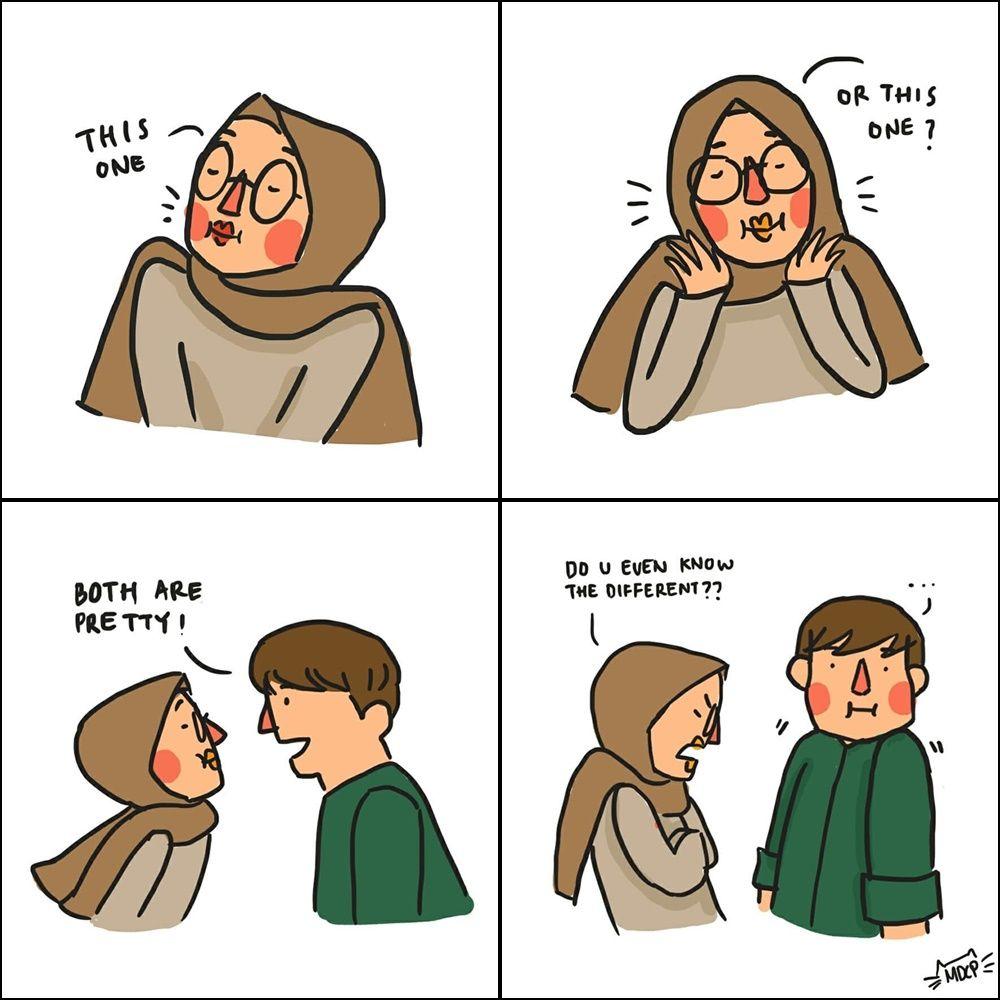 10 Ilustrasi Kehidupan Lucu Perempuan Muslim bersama Pasangannya