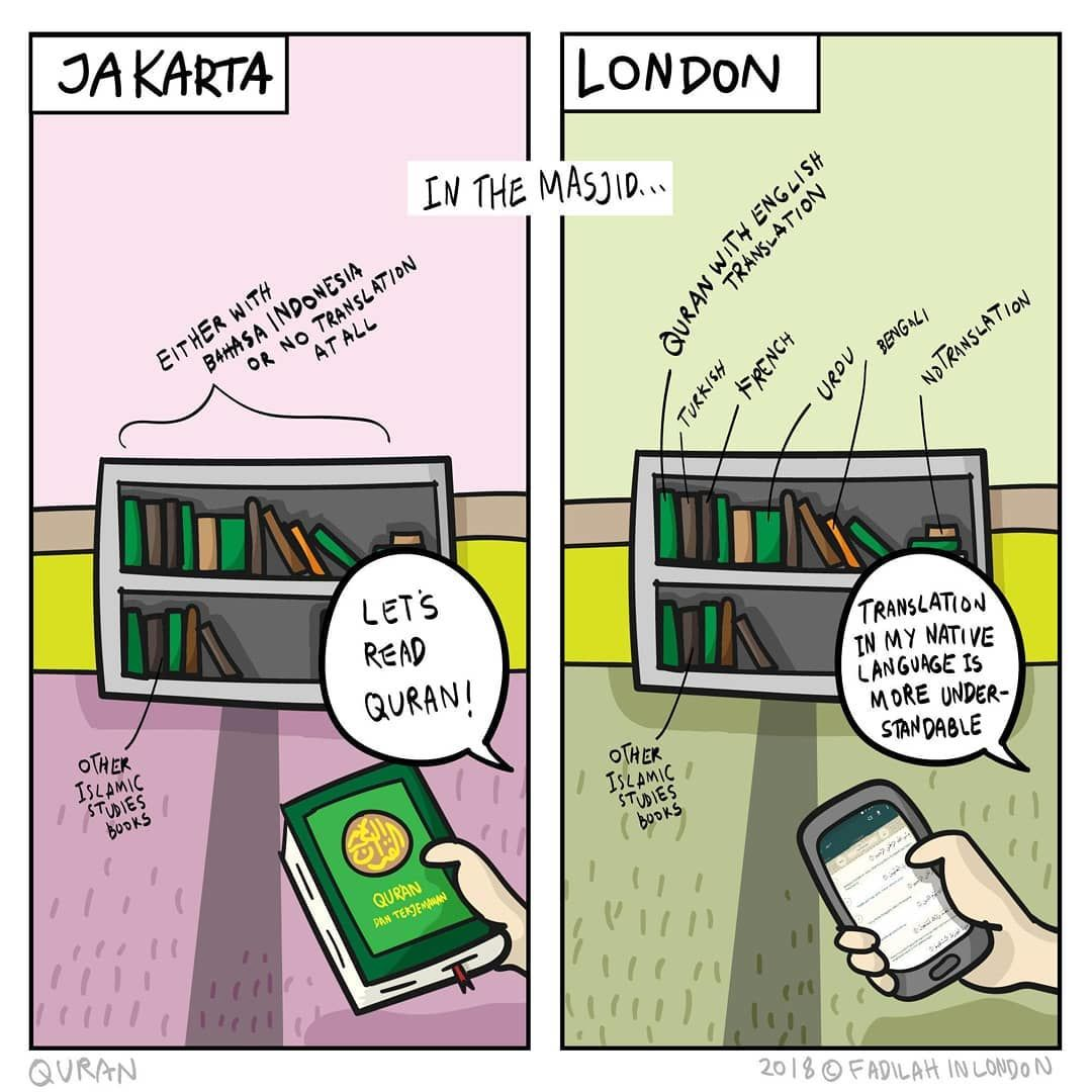 Ilustrasi ini Gambarkan Bedanya Kehidupan Muslim di Jakarta dan London