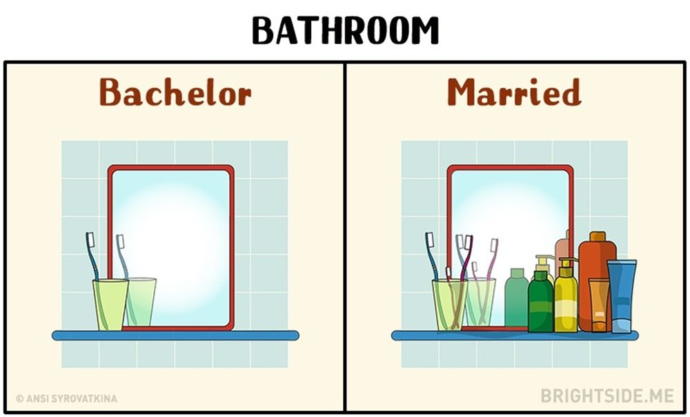 11 Ilustrasi Ini Ungkap Bedanya Laki-Laki Sebelum dan Setelah Menikah