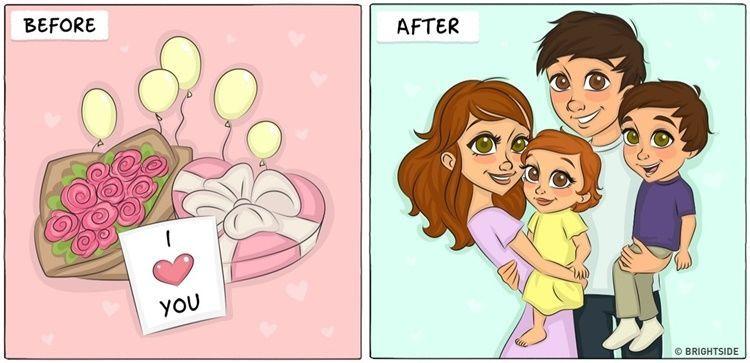 9 Ilustrasi Ini Gambarkan Lucunya Kehidupan Sebelum vs Setelah Menikah