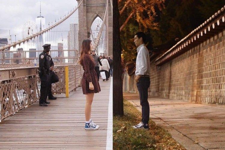Terpisah Jarak, Pasangan Korea Ini Buat Foto yang 'Menyatukan' Mereka
