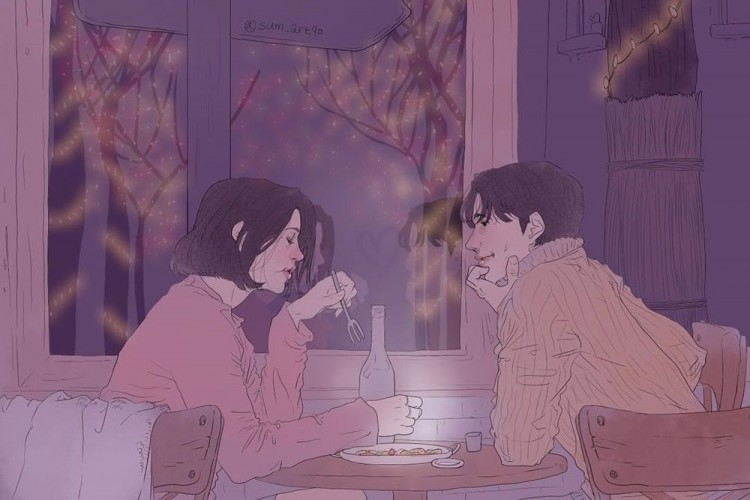 9 Ilustrasi Romantis tentang Lika-liku Percintaan, Mirip Drama Korea!