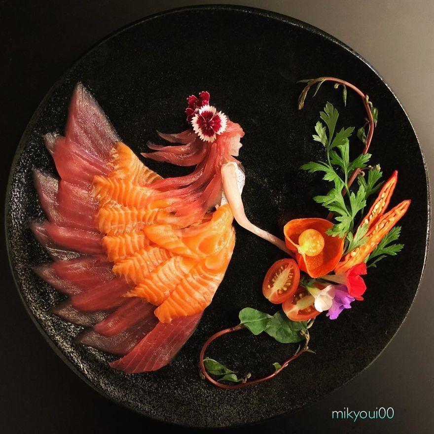 Unik! Seniman Ini Menyusun Sashimi Bak Lukisan Negeri Dongeng