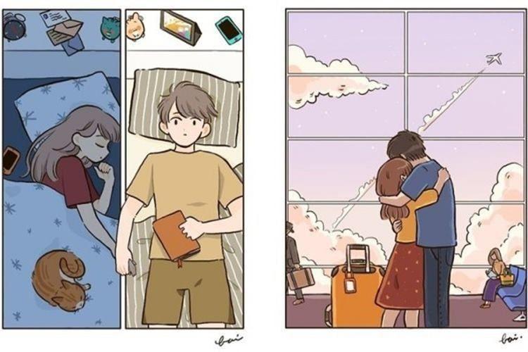 10 Ilustrasi Suka Duka Jadi Pasangan LDR