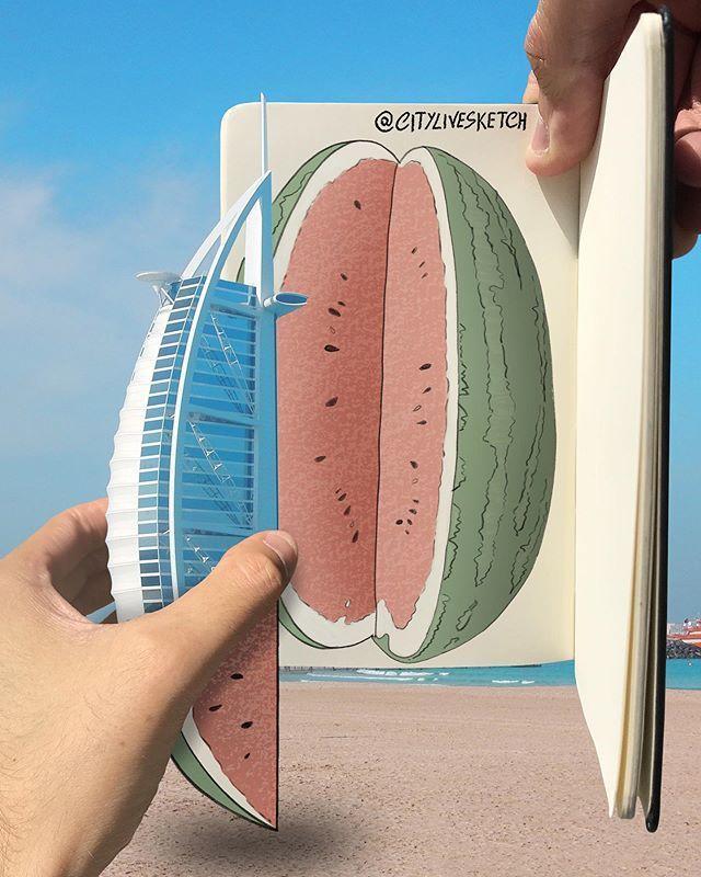 Ilustrator ini Satukan Sketch dengan Destinasi Dunia Secara Riil