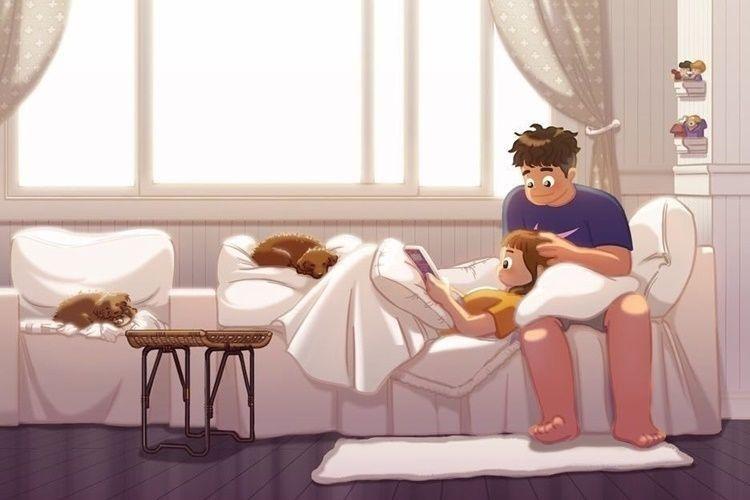 12 Ilustrasi Rasanya Punya Pasangan yang Perhatian, Bikin Meleleh!