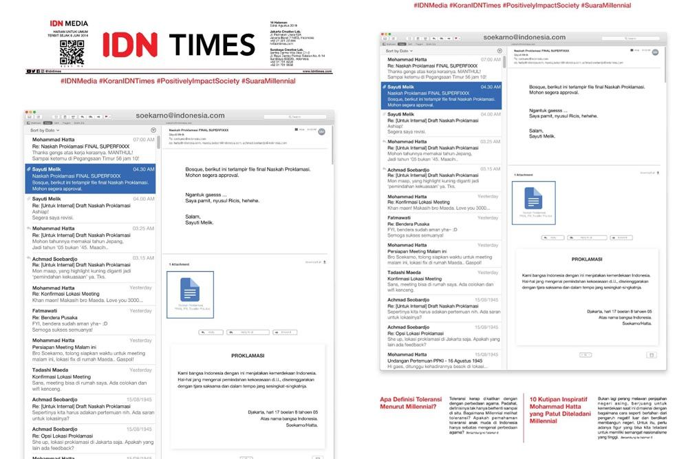 Peristiwa Proklamasi Versi Kekinian Jadi Cover Koran IDN Times