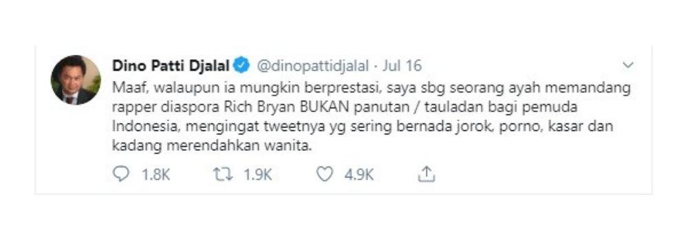 Rich Brian, Dipuji Presiden Tapi Dicibir Mantan Wamenlu Indonesia