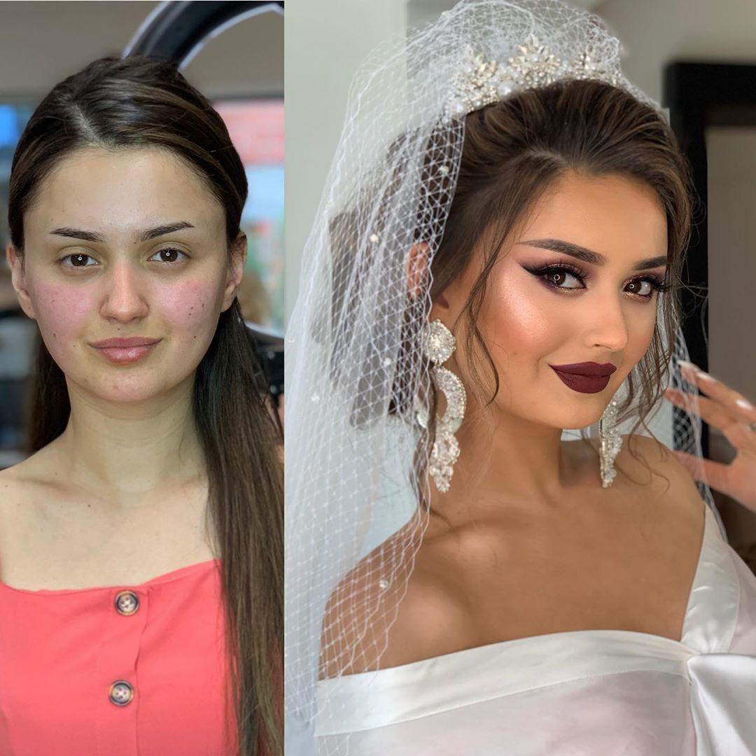11 Foto Perbandingan Pengantin Setelah Dirias dengan Makeup Bold