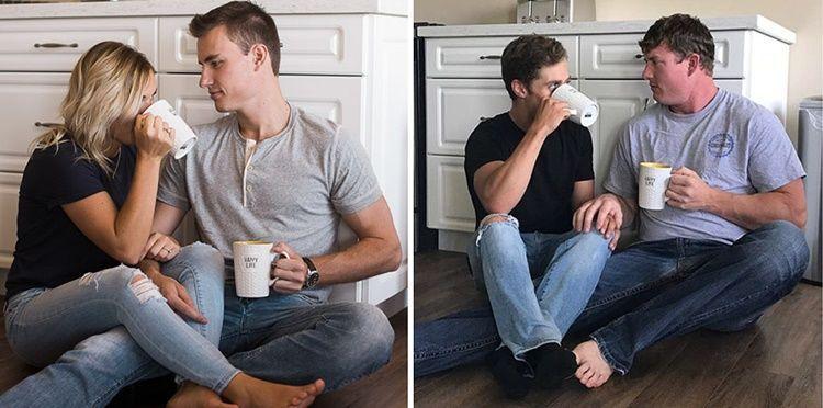 Kocak! 10 Potret Lucu Laki-Laki Tiru Foto Pertunangan Sahabatnya