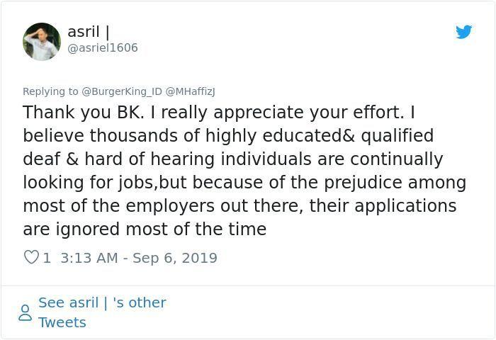 Viral, Ini Respon Burger King Saat Mempekerjakan Disabilitas