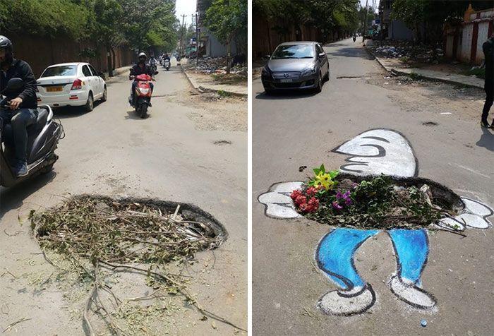 20 Karya Lukisan di Jalanan Rusak yang Bertujuan Sindir Pemerintah