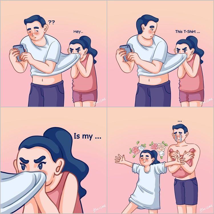 10 Ilustrasi Ini Buktikan Punya Pasangan Humoris Itu Bikin Bahagia