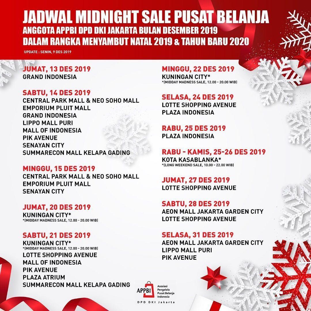 Siap-Siap! Ini Jadwal Midnight Sale untuk Akhir Tahun 2019