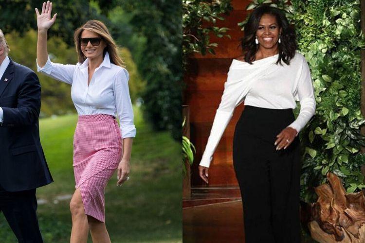 Perbandingan GayaMelania Trump dan Michelle Obama, Lebih Modis Siapa?