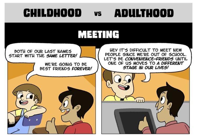 5 Ilustrasi Perbedaan Sahabat di Masa Kecil vs Setelah Dewasa