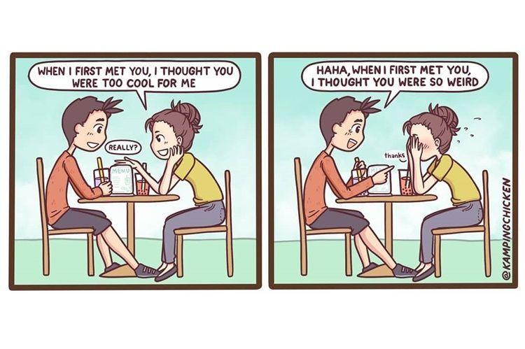 Kocak! 9 Ilustrasi Kelakuan Lucu Perempuan dengan Pasangannya