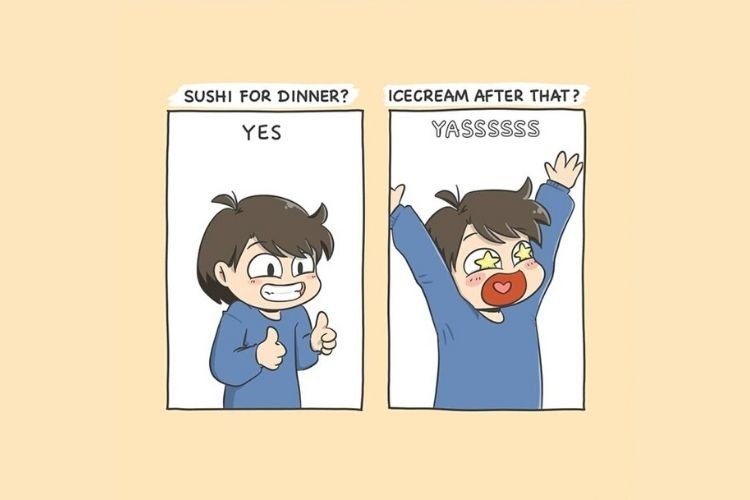 7 Ilustrasi Lucu tentang Perempuan yang Hobi Makan, Kamu Banget!