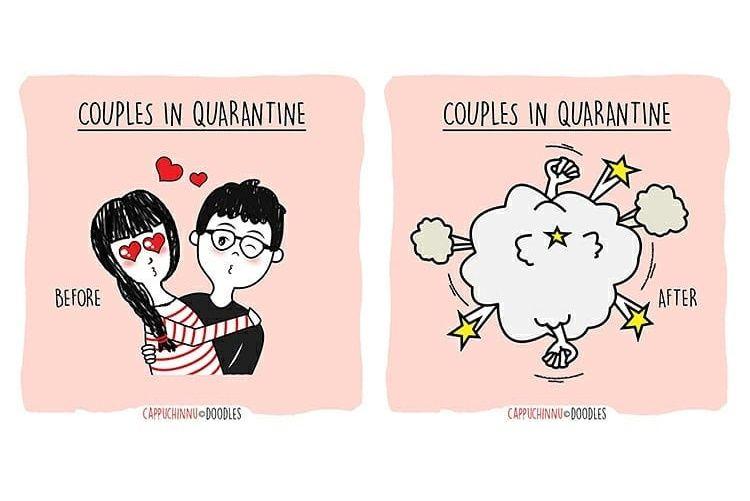7 Ilustrasi Lucu Saat Kita Jalani Karantina Bersama Pasangan