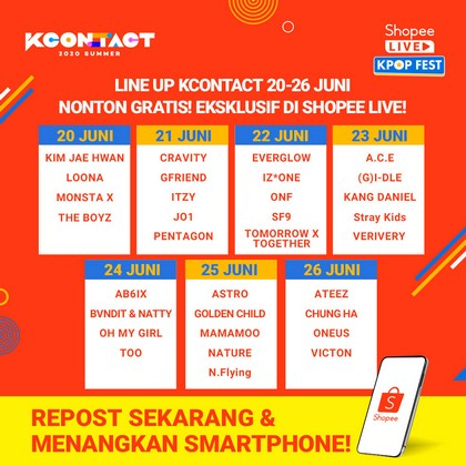 Seru Banget, Nantikan KCON 2020 di Shopee Live Kpop Fest, GRATIS!