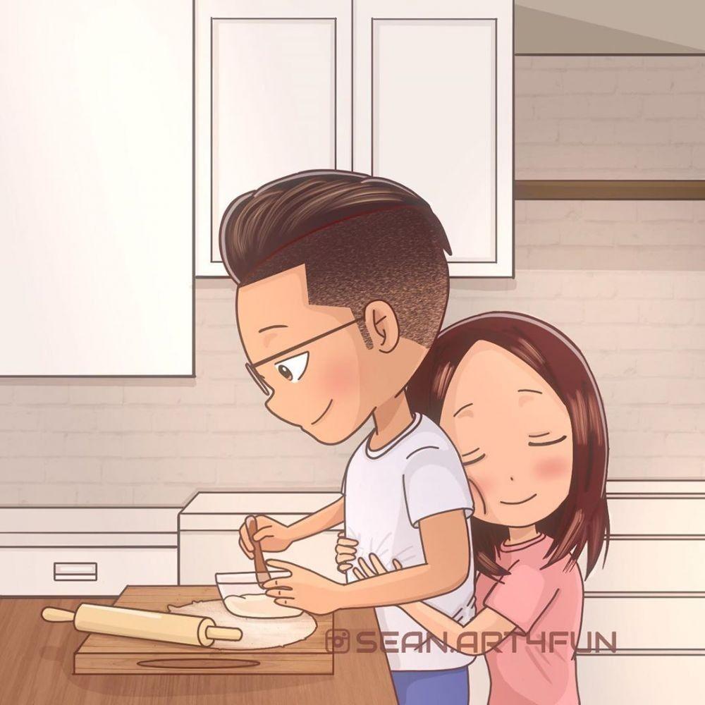 10 Ilustrasi Kegiatan Pengantin Baru Saat Karantina di Rumah, Seru!