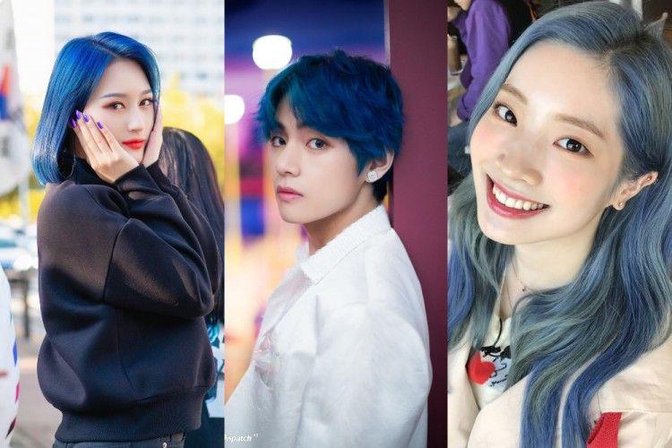 9 Kpop Idol yang Tampil Memukau dengan Gaya Rambut Berwarna Biru