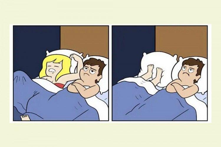 Kocak! 6 Ilustrasi Ini Gambarkan Tahapan Saat Tidur Bareng Pasangan