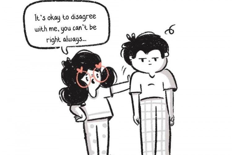 7 Ilustrasi Ini Ungkap Momen Menggemaskan Saat Pasangan Berantem