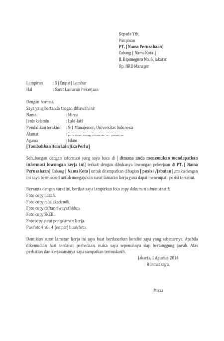 Contoh Surat Lamaran Kerja Yang Baik Dan Benar Lolos Hrd