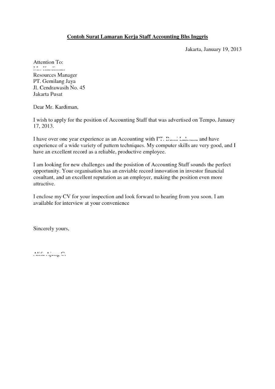 Contoh Surat Lamaran Kerja Dalam Bahasa Inggris Lengkap