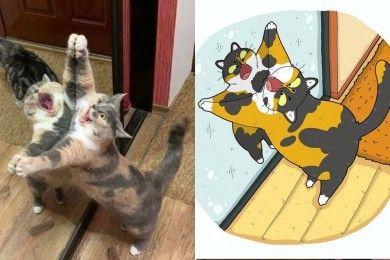 Bikin Ngakak Banget, 13 Ilustrasi Tingkah Kucing Ini Super Menghibur