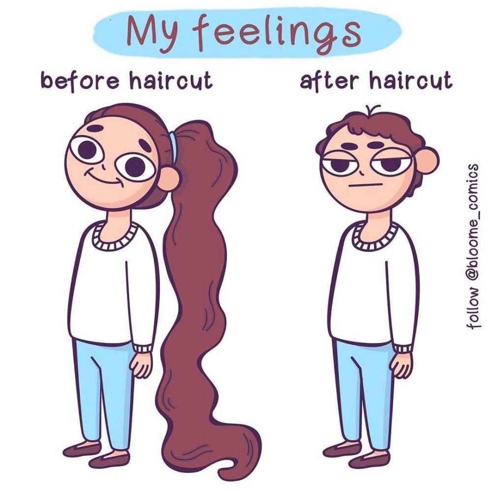 12 Ilustrasi Masalah Perempuan dengan Gaya Rambutnya, Pernah Alami?