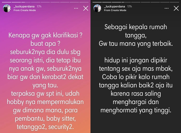 Istri Ngamuk di Medsos, Ini 5 Kronologi Perselingkuhan Lucky Perdana