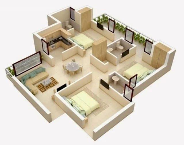 Anti Sempit, Ini Denah Desain Rumah dengan 3 Kamar Tidur