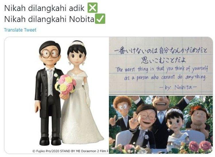 Kocak! 10 Meme tentang Pernikahan Nobita & Shizuka Ini Bikin Ngakak
