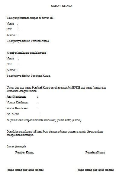 Ini Contoh Surat Kuasa Pengambilan BPKB Beserta Cara Pembuatannya