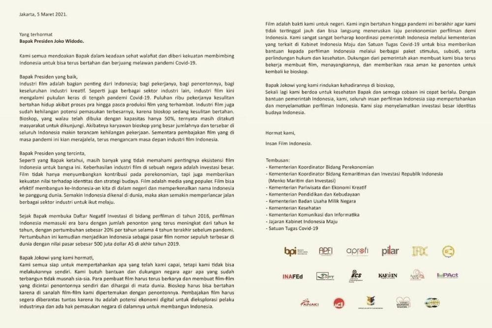 Menyusul Para Promotor, Insan Perfilman Turut Mengirim Surat ke Jokowi