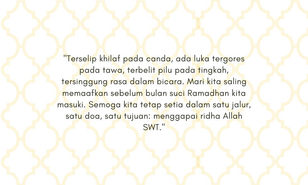 Menyentuh, Ini 11 Ucapan Maaf Menjelang Puasa Ramadan