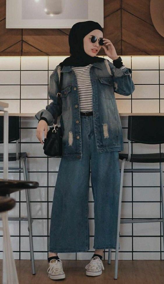 Inspirasi Celana Jeans Longgar Kasual untuk Hijabers