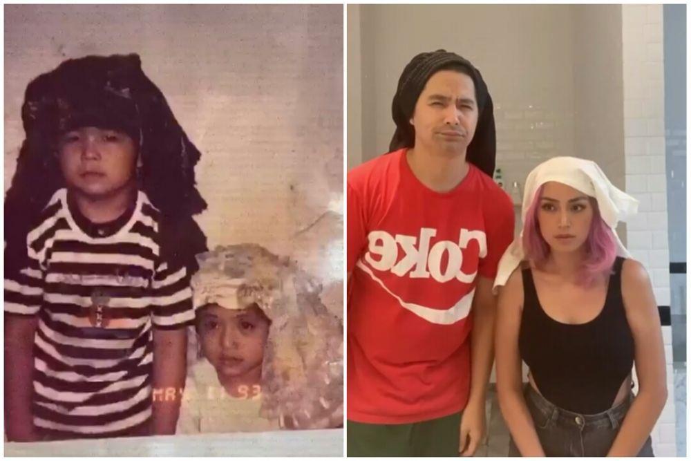 Gaya Artis Kakak Beradik Reka Ulang Foto Masa Kecil, Lucu Banget!