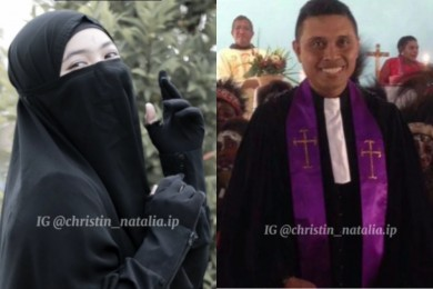 Kisah Haru Pernikahan Perempuan Bercadar Ayah Seorang Pendeta