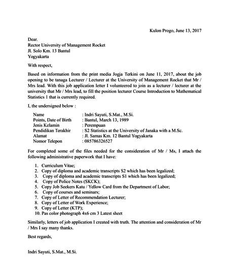 Contoh Surat Lamaran Kerja dalam Bahasa Inggris yang Baik dan Benar