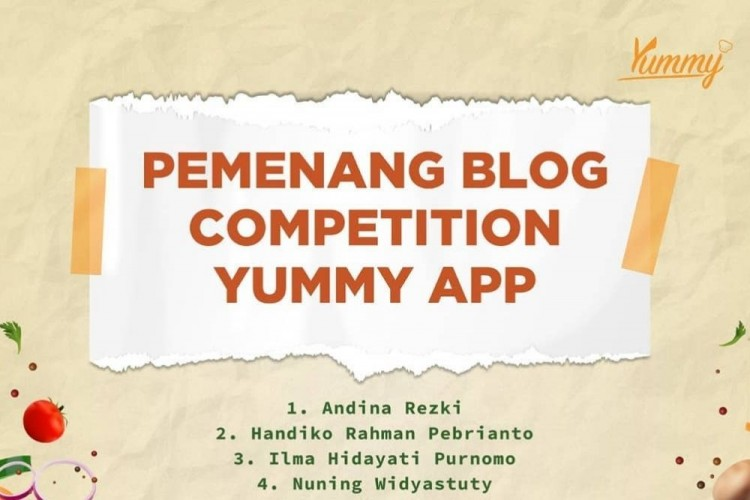 Selamat! Ini Daftar Pemenang Blog Competition Yummy App