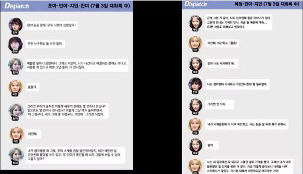 Kwon Mina Tersudut, Dispatch Rilis Bukti Chat Shin Jimin Soal Bullying